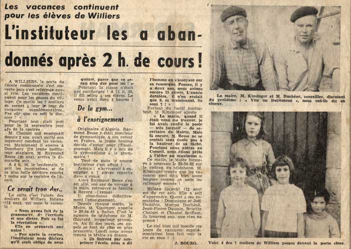 Article école Williers 1963, institueur BESSE